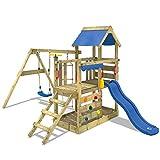 WICKEY Spielturm Klettergerüst TurboFlyer mit Schaukel & blauer Rutsche, Kletterturm mit...
