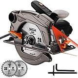 TACKLIFE 1500W 4700U Klassische Handkreissäge, Kreissäge mit Laser, 2 Klingen (24T / 40T), Max...
