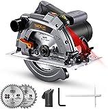 Handkreissäge, TACKLIFE Kreissäge 1500W 5000RPM mit Laser, Max. Schnitttiefe 65mm (90º), 2...