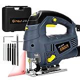 Stichsäge 800W, Ginour Elektro-Stichsägen mit Laserführung, 3000 SPM mit 7 variabler...