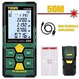 Laser Entfernungsmesser 50m TECCPO, USB, 30 min Schnellladung, Elektronische Winkelsensoren, 99...