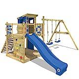 WICKEY Spielturm Klettergerüst Smart Camp mit Schaukel & blauer Rutsche, Baumhaus mit Sandkasten,...