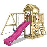 WICKEY Spielturm Klettergerüst MultiFlyer HD mit Schaukel & violetter Rutsche, Kletterturm mit...