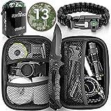 Jungle Monkey Premium Survival Kit [13er Set] - Mit hochwertigem Messer - Inklusive Taschenlampe mit...