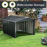 Juskys Metall Mähroboter Garage mit Satteldach - 86 × 98 × 63 cm - Sonnen- & Regenschutz für...