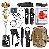 18 in 1 Survival Kit Survival Bag Multifunktionale Werkzeugtasche mit Notfalldecke Notfall...