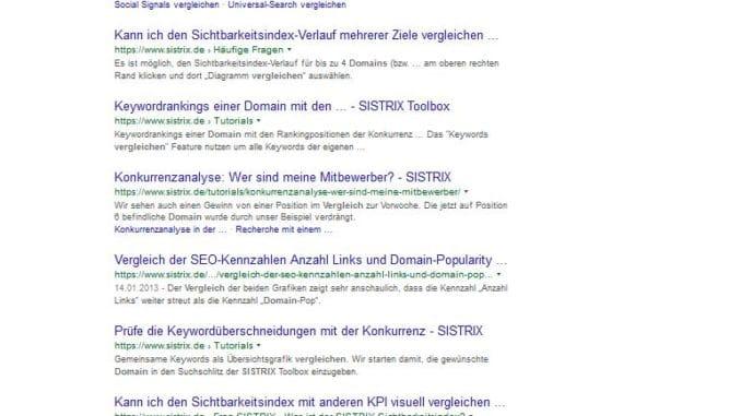 sistrix domain vergleichen Ranking Bild