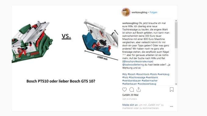 Bosch Tischkreissägen Vergleich Frage bei Instagram