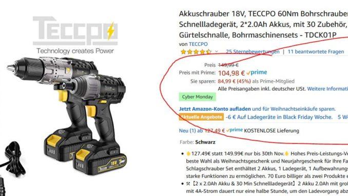 Teccpo Akkuschrauber Angebot